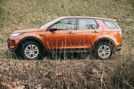 Moscow, Russia - December 20, 2019: side View of all new premium england suv. Land rover Discovery sport parked in the forest. Orange all wheel drive car standed on the ground.