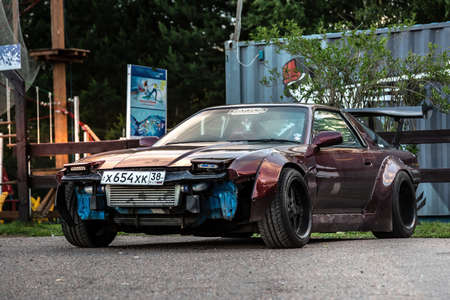 Moscow, Russia - July 06, 2019: Tuned Nissan 240SX. Special maded professional drift car. Parked near autodrome. Removed front bumper for trainings. Editorial