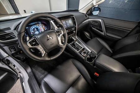 Moscow, Russia - February 17, 2021: All new Mitsubishi Pajero Sport. Montero. Interior of Japan SUV