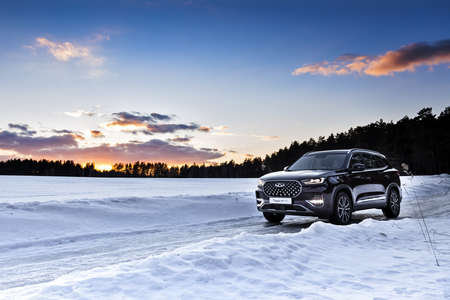 Moscow, Russia - March 19, 2021: Chery Tiggo 8 Pro \ Plus A purple SUV is parked in the forest. Winter snow. drifts, large Chinese premium car.