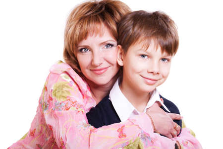 9 year old: portrait of mother and 9 year old son isolated on white Stock Photo