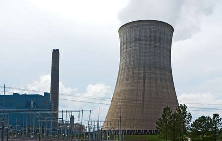 coal fired: A coal fired steam power plant. Stock Photo