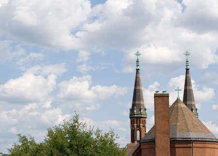 steeples: Church steeples rising into the sky.