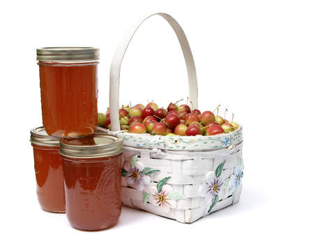 crabapple: Fresh crabapples with jars of crabapple jelly.