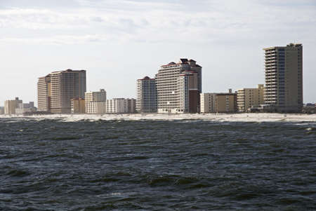 shores: A view of Gulf Shores Alabama from the water.