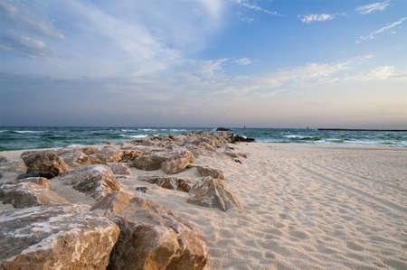 알라바마 만 해안에서 장면.