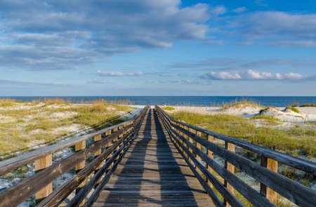 the gulf: A wooden walkway to the Alabama Gulf Coast. Stock Photo
