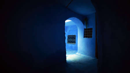 Inside view of the blue room without artificial light