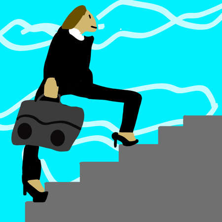 A businesswoman in a suit is going up the stairs Zdjęcie Seryjne