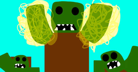Attack of big, evil green monsters with glowing arms and brown body