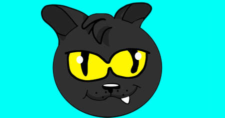 The head of a black cat with yellow eyes and a protruding tooth