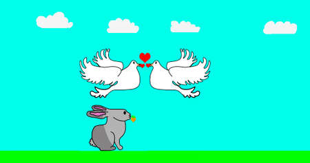 A gray hare eats a carrot near white doves kissing on Valentines Day