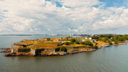 Top view of a small island in Helsinki serving as a defensive coastal fortress with walls and cannons