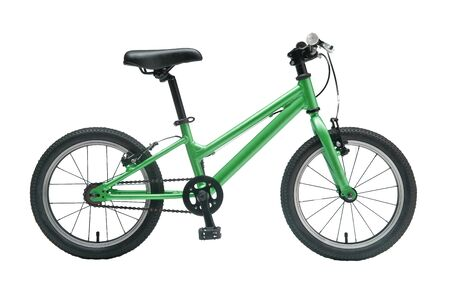 Isolated Kids Bicycle In Green Metallic Color Frame With White Background Banco de Imagens