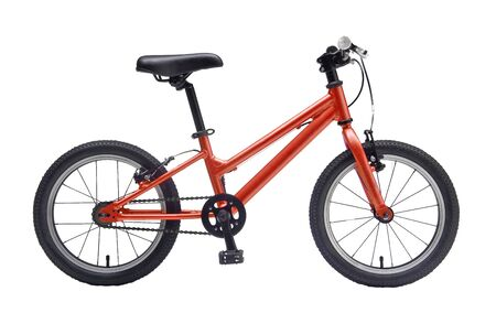 Isolated Kids Bicycle In Orange Metallic Color Frame With White Background