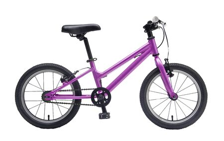 Isolated Kids Bicycle In Purple Metallic Color Frame With White Background Banco de Imagens