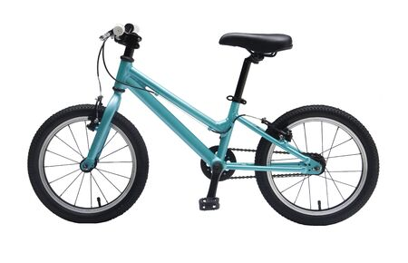 Isolated Kids Bicycle In Blue Metallic Color Frame With White Background