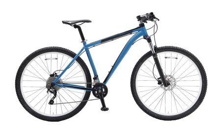 Geïsoleerde mountainbike in blauwe kleur