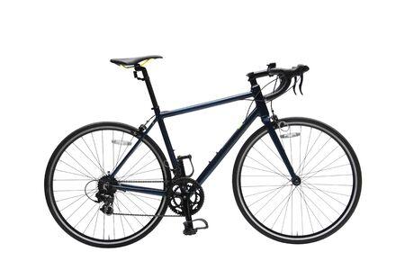 Bicicleta de carretera Gent aislado con marco oscuro en fondo blanco.