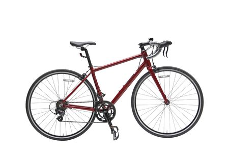 Isolated Women Sport Road Bike With Red Frame in Perspective View