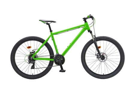 Isolated Gent Mountain Trail Bike 29er With Green Frame in White Background