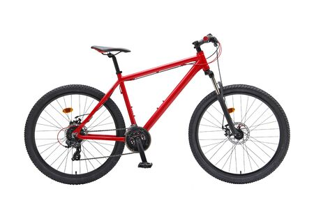 Isolated Gent Mountain Trail Bike 29er With Red Frame in White Background