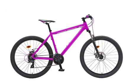 Isolated Gent Mountain Trail Bike 29er With Purple Frame in White Background 写真素材