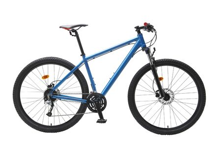 Isolated Gent Mountain Trail Bike 29er With Blue Frame in White Background 写真素材