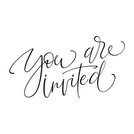 YOURE INVITED original custom hand lettering -- handmade calligraphy, vector (eps8); 일러스트