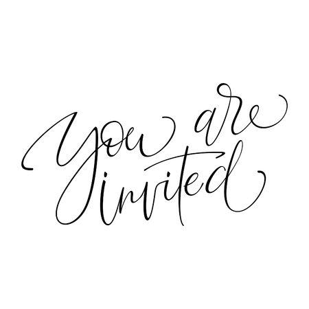 YOURE INVITED originele handgemaakte lettering - handgemaakte kalligrafie, vector (eps8);