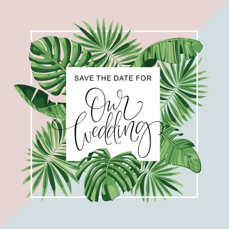 Wedding Invitation Card. Tropical Flowers Background. Banana. Save the Date. Vector Template. RSVP. Illustration