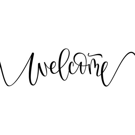 welcome lettering sign Illustration