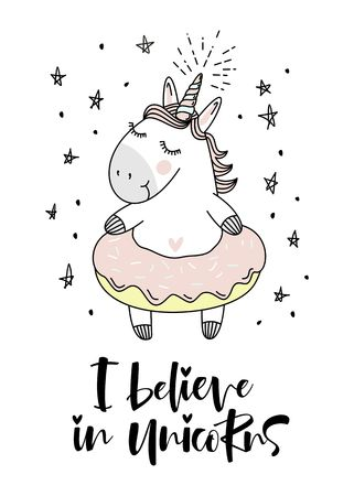 believe in unicorn typography and unicorn illustration vector.