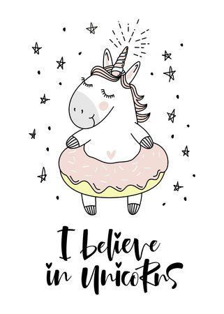 Geloof in eenhoorn typografie en eenhoorn illustratie vector. Stock Illustratie