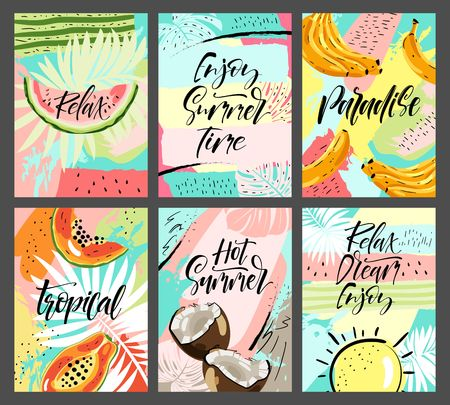 Spring Summer poster, banner in trendy 80s-90s Memphis style. Lettering and colorful design for poster, card, invitation. Easy editable for Your design.