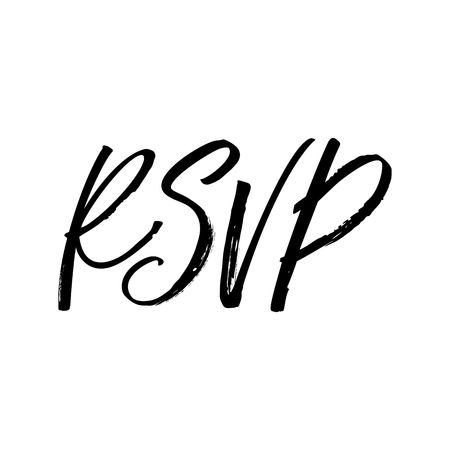 RSVP hand drawn lettering, Isolated