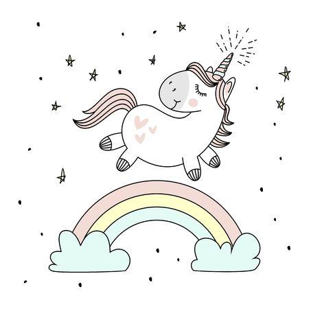 Magische schattige eenhoorn, wandelen op de regenboog, doodle kinderkamer kunst