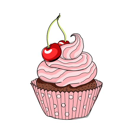 cupcakes isolated: Creamy cup cake with cherry. Hand drawing sketch vector illustration.