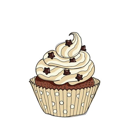 choc: Illustration of an isolated cupcake