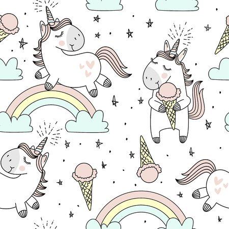 Vektor-Muster mit süßen Einhörnern, Wolken, Regenbogen und Sterne. Magischer Hintergrund mit kleinen Einhörnern.