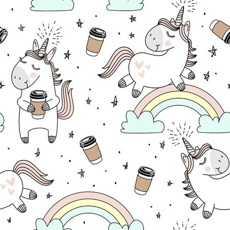 rainbow sky: Vector pattern with cute unicorns, clouds,rainbow and stars. Magic background with little unicorns. Illustration