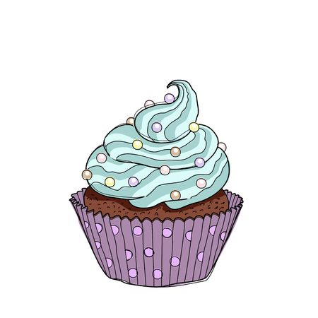 Hand drawn cupcake with doodle buttercream for pastry shop menu.