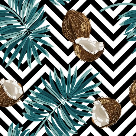 Seamless vector pattern of coconuts.