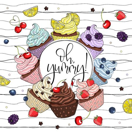Cupcakes line drawn on striped background. Vector sketch illustration.
