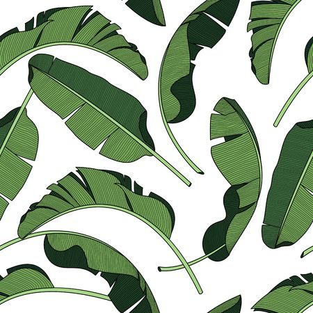 Palm leaves, dense jungle. Tropical background Seamless vector pattern.