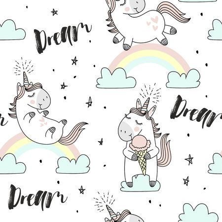 A vector hand drawn pattern with cute Magic background of unicorns, clouds, rainbow and stars. Иллюстрация