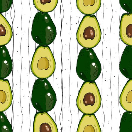 Vector hand drawn avocado seamless pattern. Detailed food drawing. Ilustrace