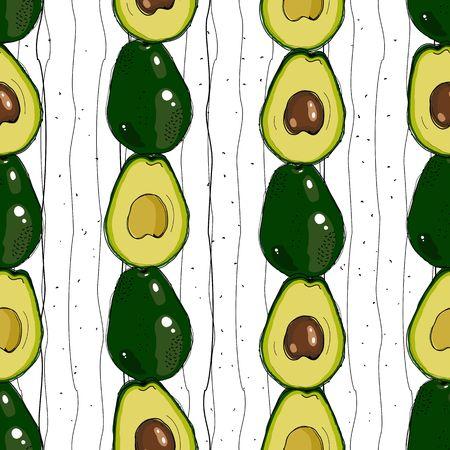 Vector hand drawn avocado seamless pattern. Detailed food drawing. Çizim