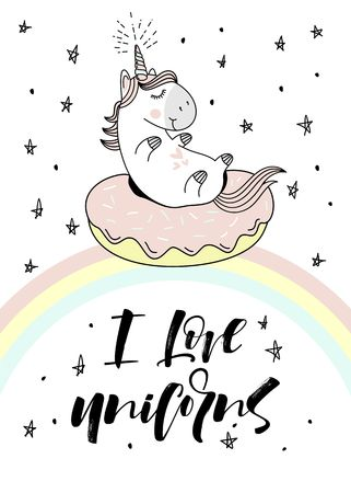 Magic cute unicorn on donut swimming ring. Vector greeting card.
