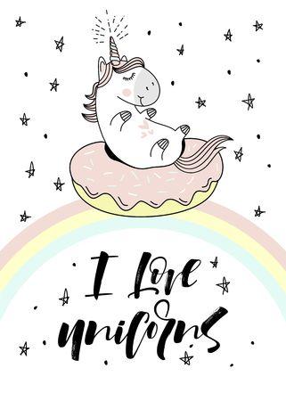 Magic cute unicorn on donut swimming ring. Vector greeting card.